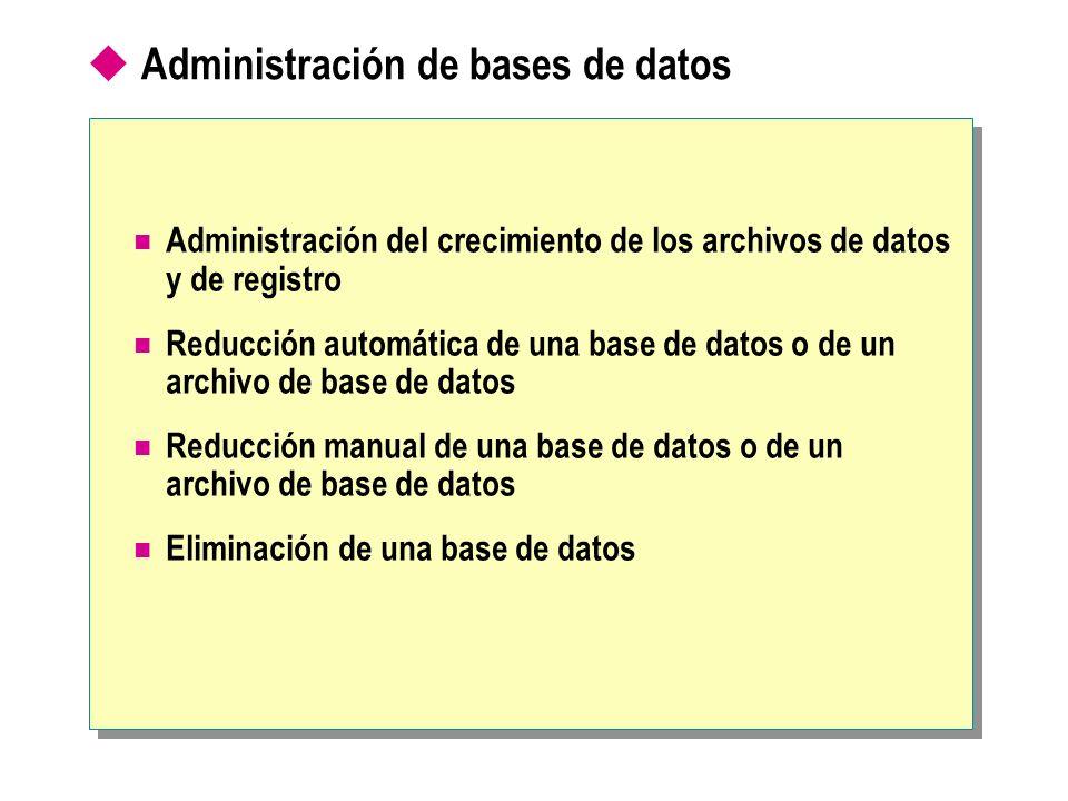 Administración de bases de datos Administración del crecimiento de los archivos de datos y de registro Reducción automática de una base de datos o de