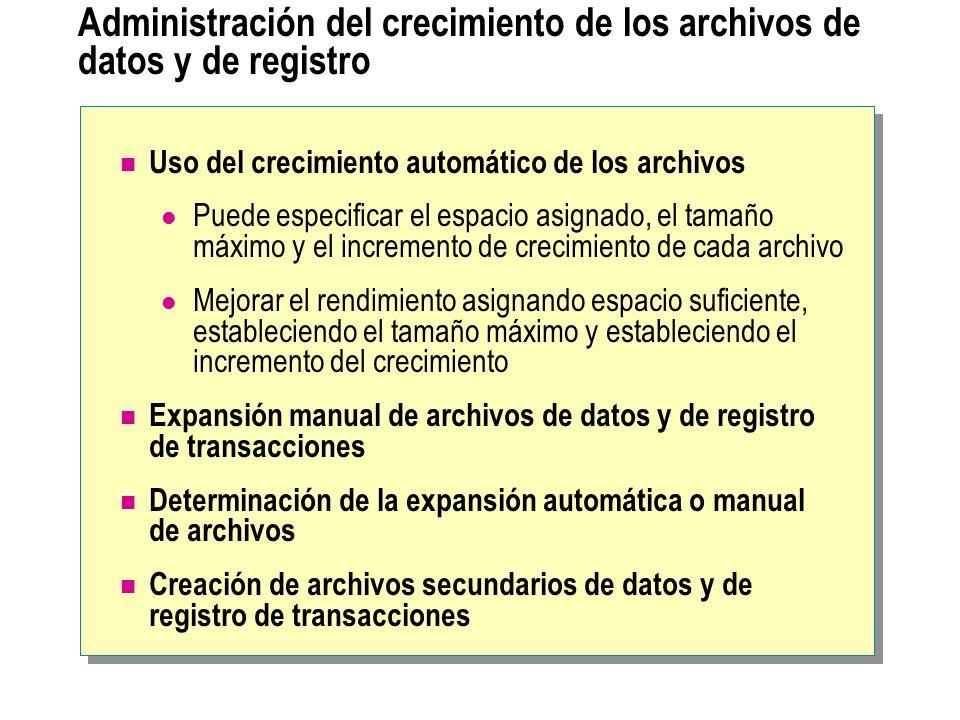 Administración del crecimiento de los archivos de datos y de registro Uso del crecimiento automático de los archivos Puede especificar el espacio asig