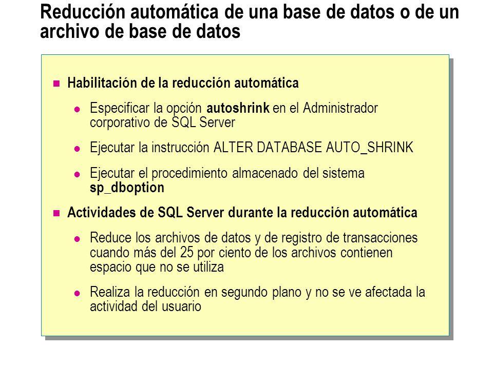 Reducción automática de una base de datos o de un archivo de base de datos Habilitación de la reducción automática Especificar la opción autoshrink en