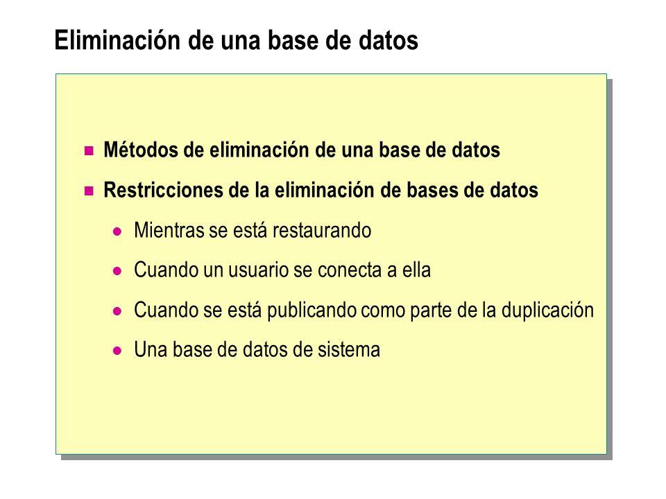 Eliminación de una base de datos Métodos de eliminación de una base de datos Restricciones de la eliminación de bases de datos Mientras se está restau