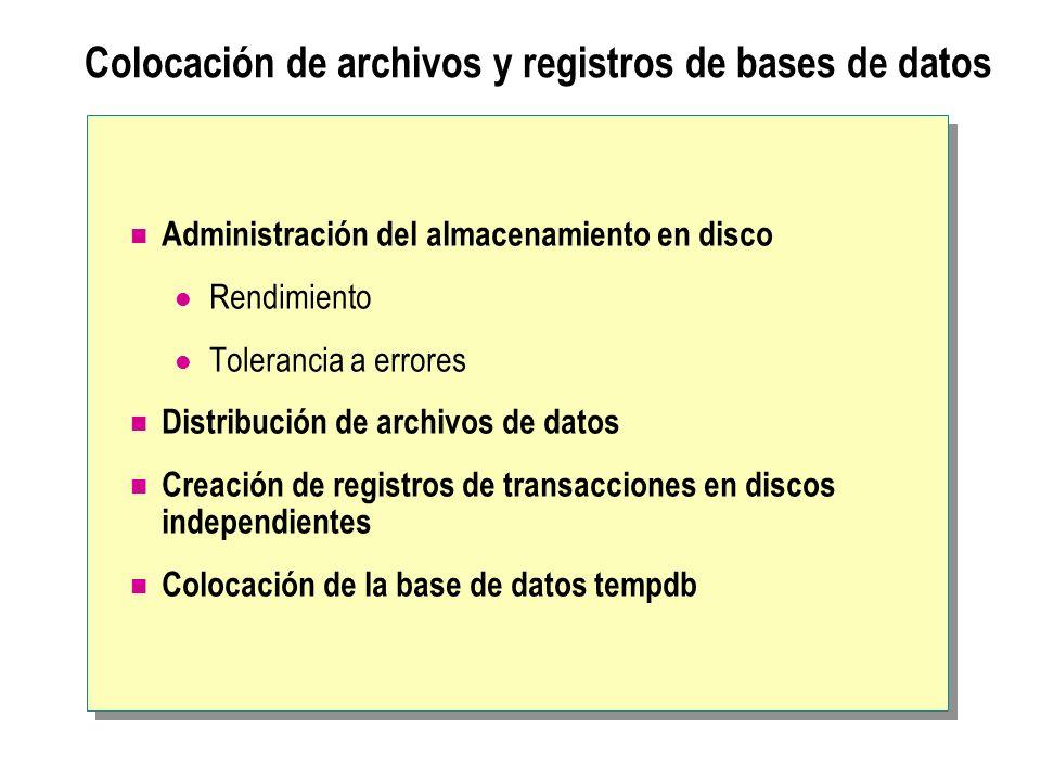 Colocación de archivos y registros de bases de datos Administración del almacenamiento en disco Rendimiento Tolerancia a errores Distribución de archi