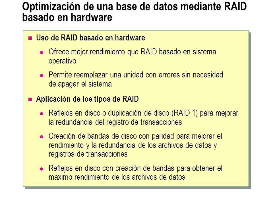 Optimización de una base de datos mediante RAID basado en hardware Uso de RAID basado en hardware Ofrece mejor rendimiento que RAID basado en sistema