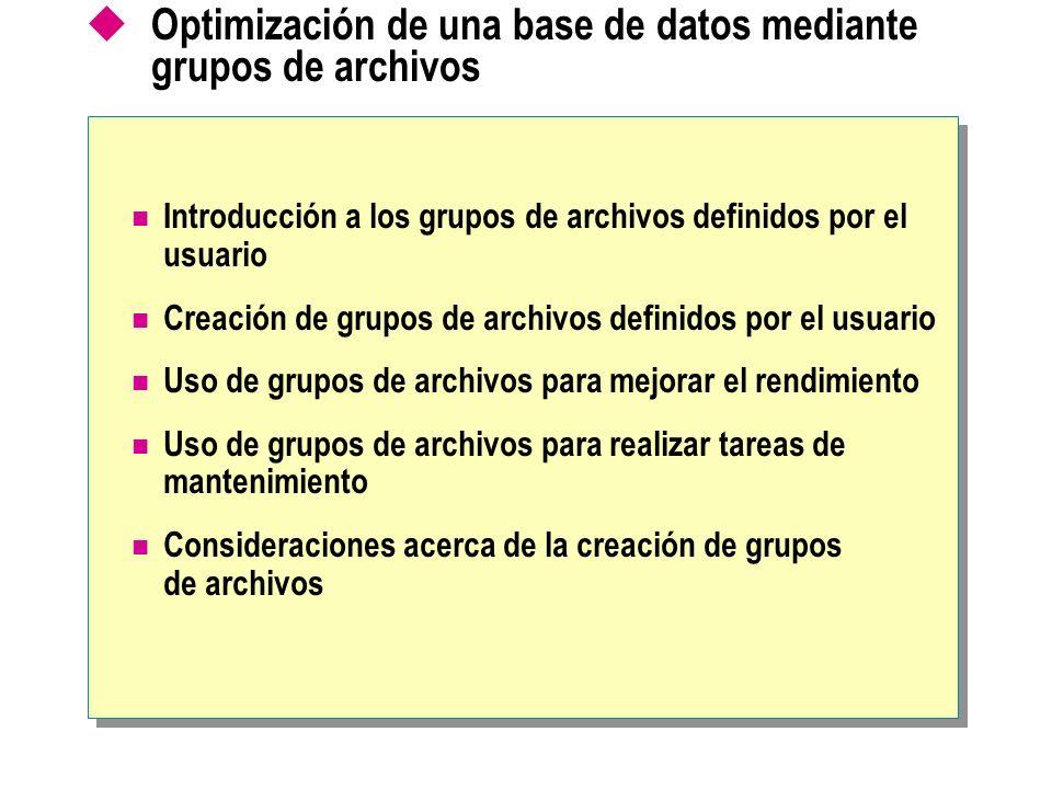 Optimización de una base de datos mediante grupos de archivos Introducción a los grupos de archivos definidos por el usuario Creación de grupos de arc