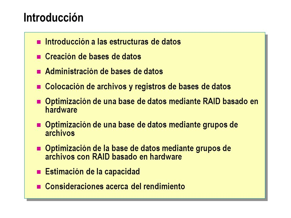 Consideraciones acerca de la creación de grupos de archivos Supervisar rendimiento del sistema Use requisitos de mantenimiento en lugar de consideraciones de rendimiento Cambiar el grupo de archivos predeterminado si usa grupos de archivos definidos por el usuario Tenga en cuenta que los grupos de archivos no proporcionan tolerancia a errores