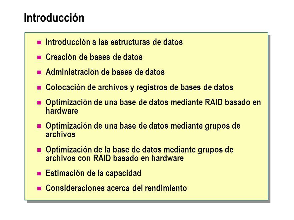 Introducción Introducción a las estructuras de datos Creación de bases de datos Administración de bases de datos Colocación de archivos y registros de