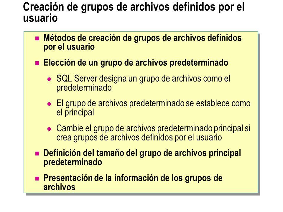 Creación de grupos de archivos definidos por el usuario Métodos de creación de grupos de archivos definidos por el usuario Elección de un grupo de arc
