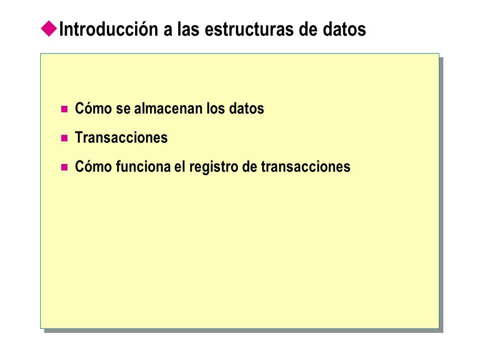Cómo se almacenan los datos Extensión (8 espacios contiguos, páginas, de 8 KB) Página (8 KB) Tablas, índices Datos Base de datos Datos (archivo).mdf o.ndf Datos (archivo).mdf o.ndf Registro (archivo).ldf Registro (archivo).ldf Tamaño máximo de fila = 8060 bytes