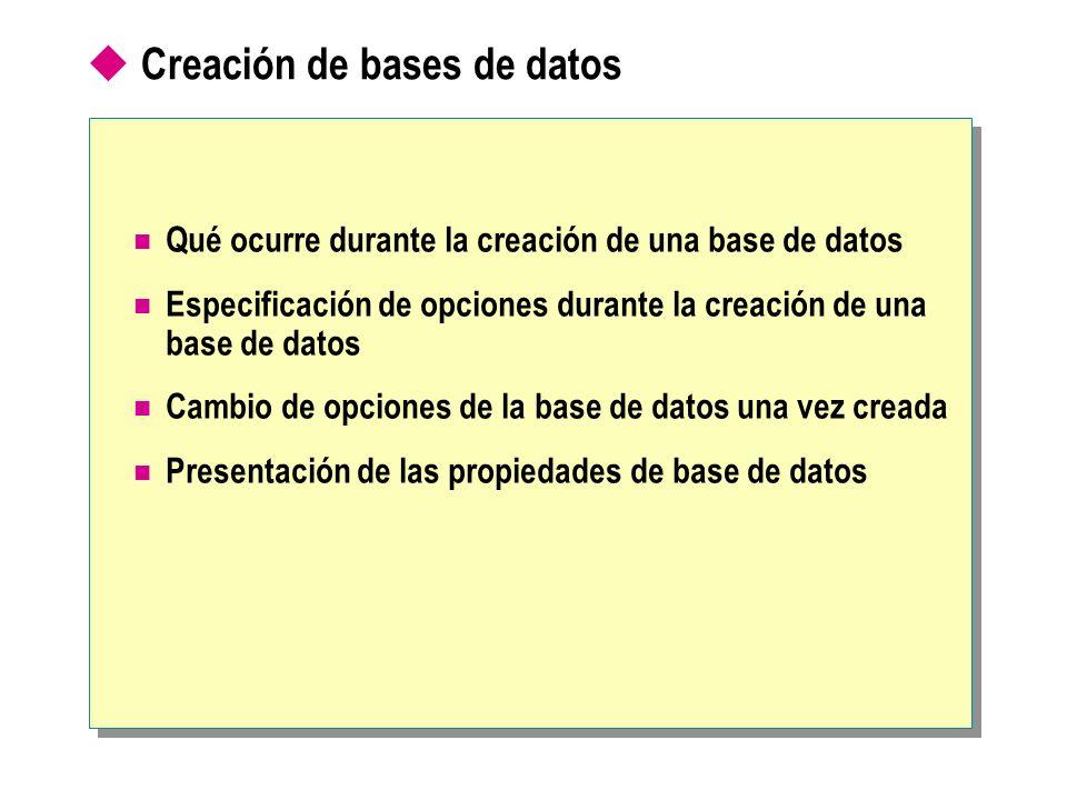 Qué ocurre durante la creación de una base de datos Se crea un archivo de datos y un registro de transacciones Requiere que el propietario y creador tenga permiso para la base de datos master Permite definir: El nombre de la base de datos Las propiedades de la base de datos La ubicación de los archivos de la base de datos