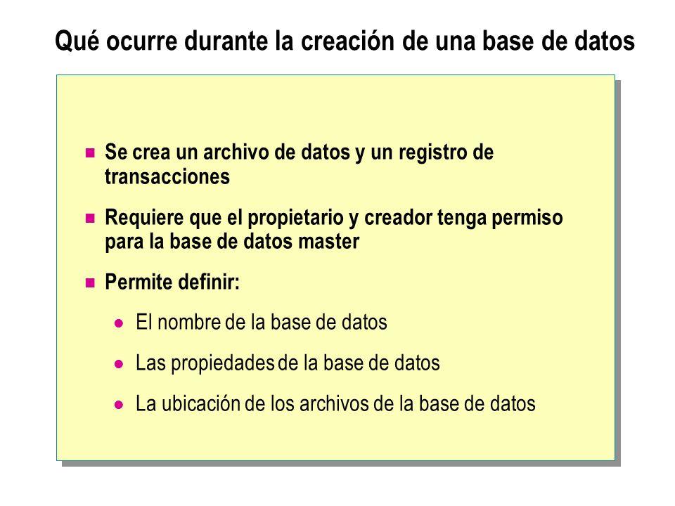 Especificación de opciones durante la creación de una base de datos Archivo principal Archivos secundarios Registro de transacciones Nombre y ubicación de archivo Tamaño Crecimiento de archivo Tamaño máximo Intercalación