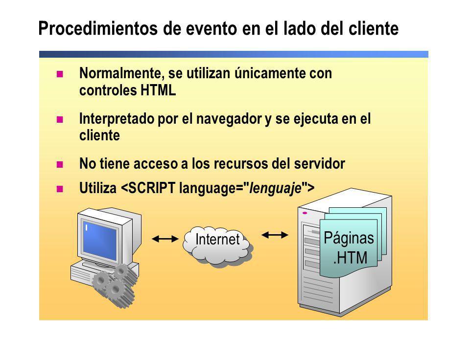Procedimientos de evento en el lado del cliente Internet Páginas.HTM Normalmente, se utilizan únicamente con controles HTML Interpretado por el navega