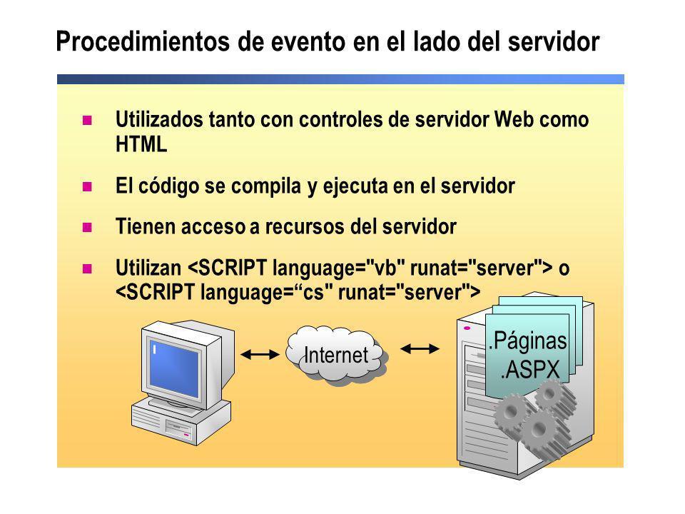 Procedimientos de evento en el lado del servidor Utilizados tanto con controles de servidor Web como HTML El código se compila y ejecuta en el servido