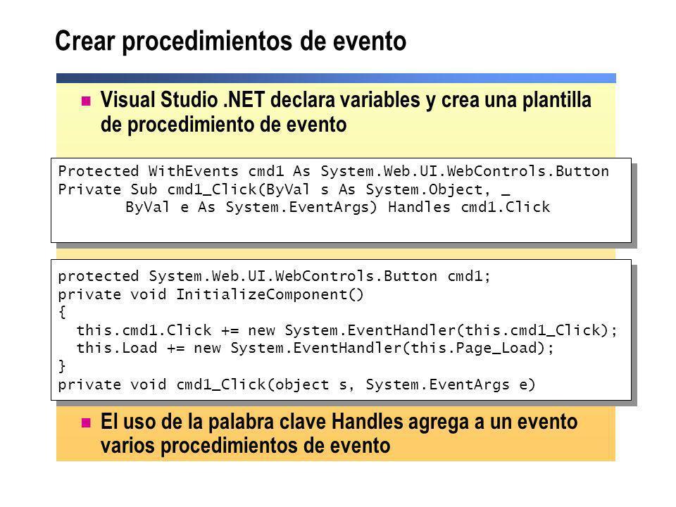 Crear procedimientos de evento Visual Studio.NET declara variables y crea una plantilla de procedimiento de evento El uso de la palabra clave Handles
