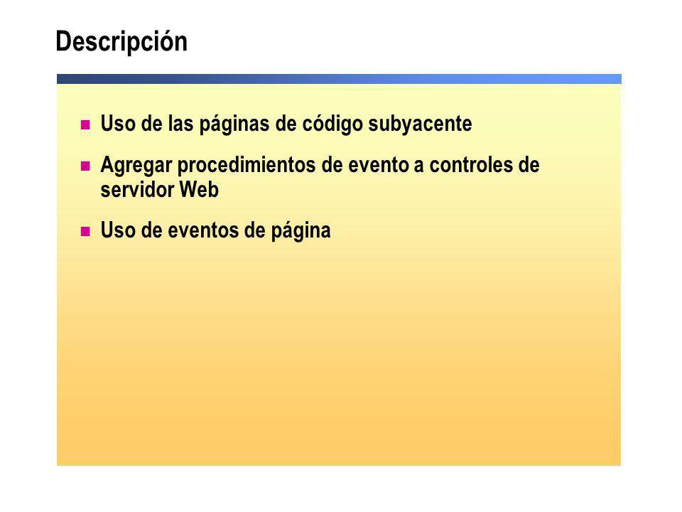 Vínculo de dos controles Vincular un control con otro resulta útil para obtener valores de cuadros de lista o listas desplegables Enlace de datos <asp:DropDownList id= lstOccupation autoPostBack= True runat= server > You selected: <asp:Label id= lblSelectedValue Text= runat= server /> <asp:DropDownList id= lstOccupation autoPostBack= True runat= server > You selected: <asp:Label id= lblSelectedValue Text= runat= server /> private void Page_Load(object sender, System.EventArgs e) { lblSelectedValue.DataBind(); } private void Page_Load(object sender, System.EventArgs e) { lblSelectedValue.DataBind(); } Sub Page_Load(s As Object, e As EventArgs) Handles MyBase.Load lblSelectedValue.DataBind() End Sub Sub Page_Load(s As Object, e As EventArgs) Handles MyBase.Load lblSelectedValue.DataBind() End Sub