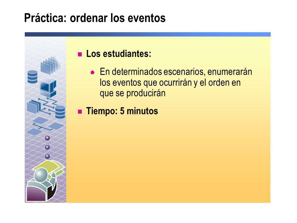 Práctica: ordenar los eventos Los estudiantes: En determinados escenarios, enumerarán los eventos que ocurrirán y el orden en que se producirán Tiempo