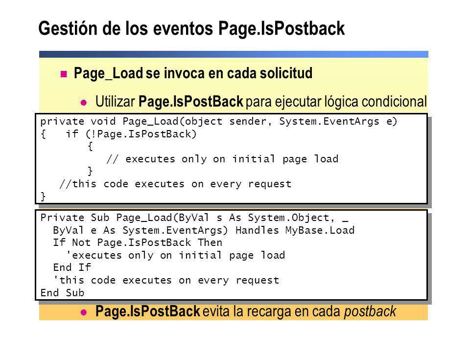 Gestión de los eventos Page.IsPostback Page_Load se invoca en cada solicitud Utilizar Page.IsPostBack para ejecutar lógica condicional Page.IsPostBack
