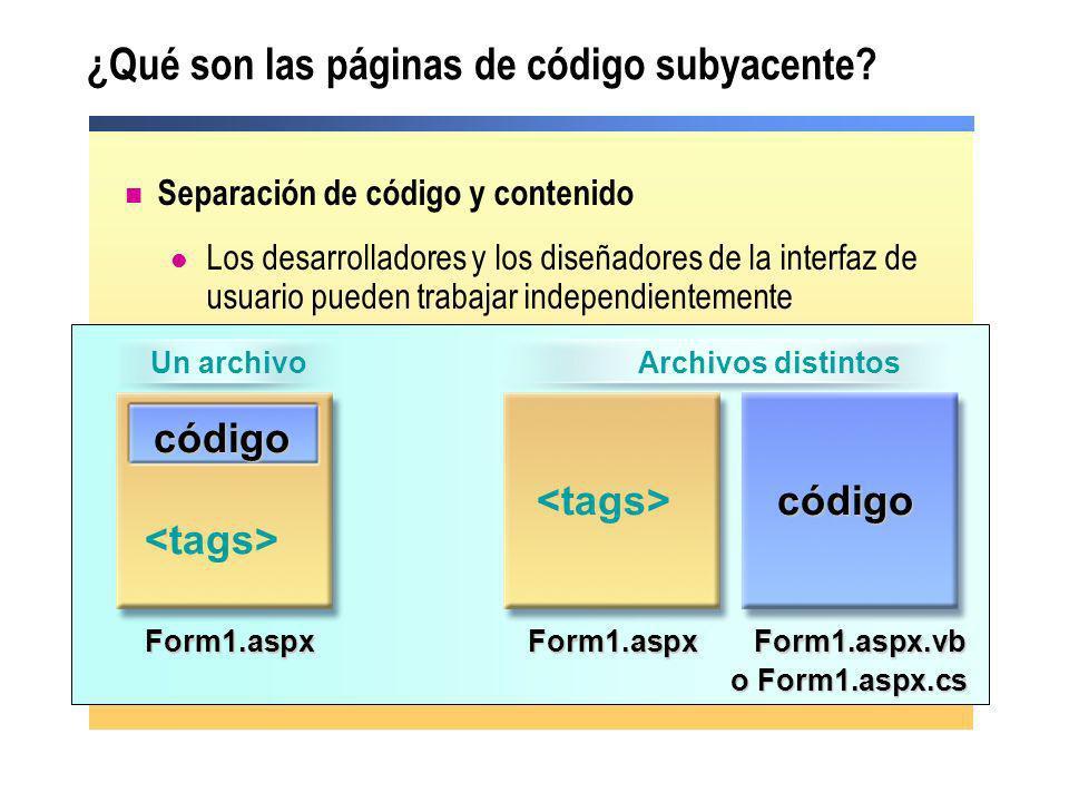 Cómo funcionan las páginas de código subyacente Crean archivos distintos para la interfaz de usuario y la lógica de la interfaz Utilizan la directiva @ Page para enlazar los dos archivos Pre-compilación o compilación JIT Page1.aspx Page1.aspx.cs public class WebForm1 { private void cmd1_Click() { … }