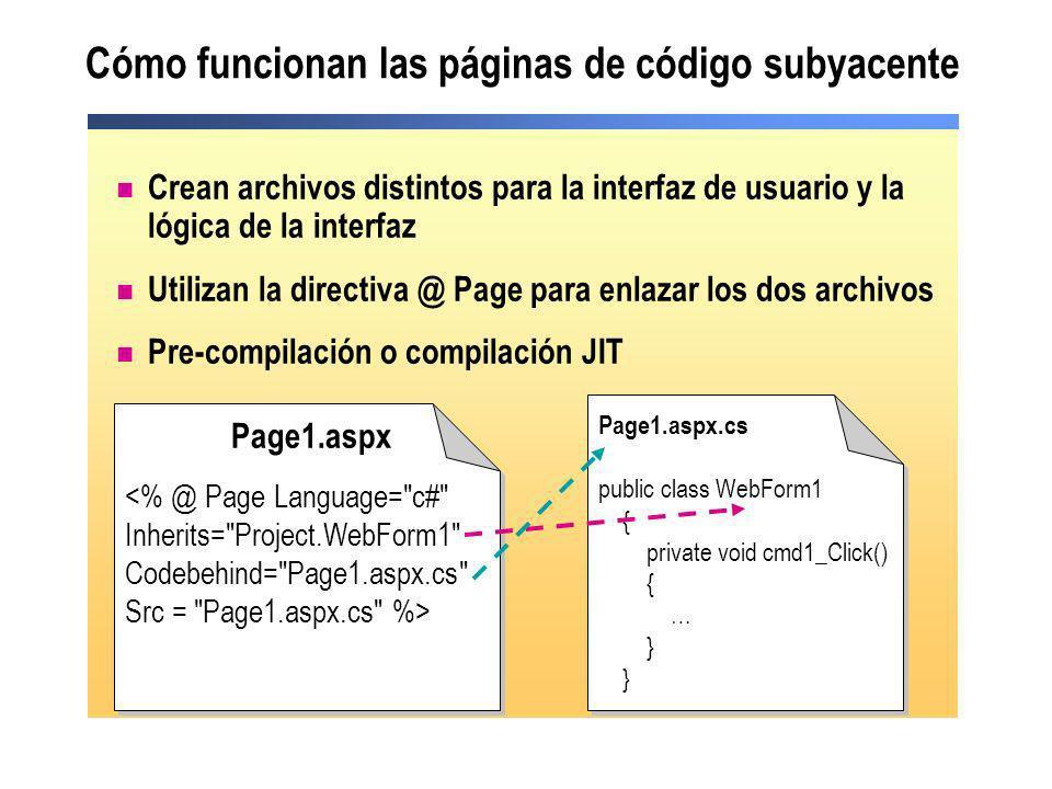 Cómo funcionan las páginas de código subyacente Crean archivos distintos para la interfaz de usuario y la lógica de la interfaz Utilizan la directiva