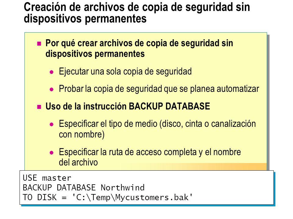 Uso de varios archivos para almacenar copias de seguridad Conjunto de medios Arch1 CopiaA1 CopiaA2 CopiaA3 Arch2 CopiaA1 CopiaA2 CopiaA3 Arch3 CopiaA2 CopiaA3 Base de datos A Conjunto de copia de seguridad CopiaA1CopiaB1 Base de datos B Conjunto de medios Arch1 CopiaA1 CopiaA2 CopiaA3 Arch2 CopiaA1 CopiaA2 CopiaA3 Arch3 CopiaA2 CopiaA3 Base de datos A Conjunto de copia de seguridad CopiaA1 CopiaB1 Base de datos de copia de seguridad Base de datos B