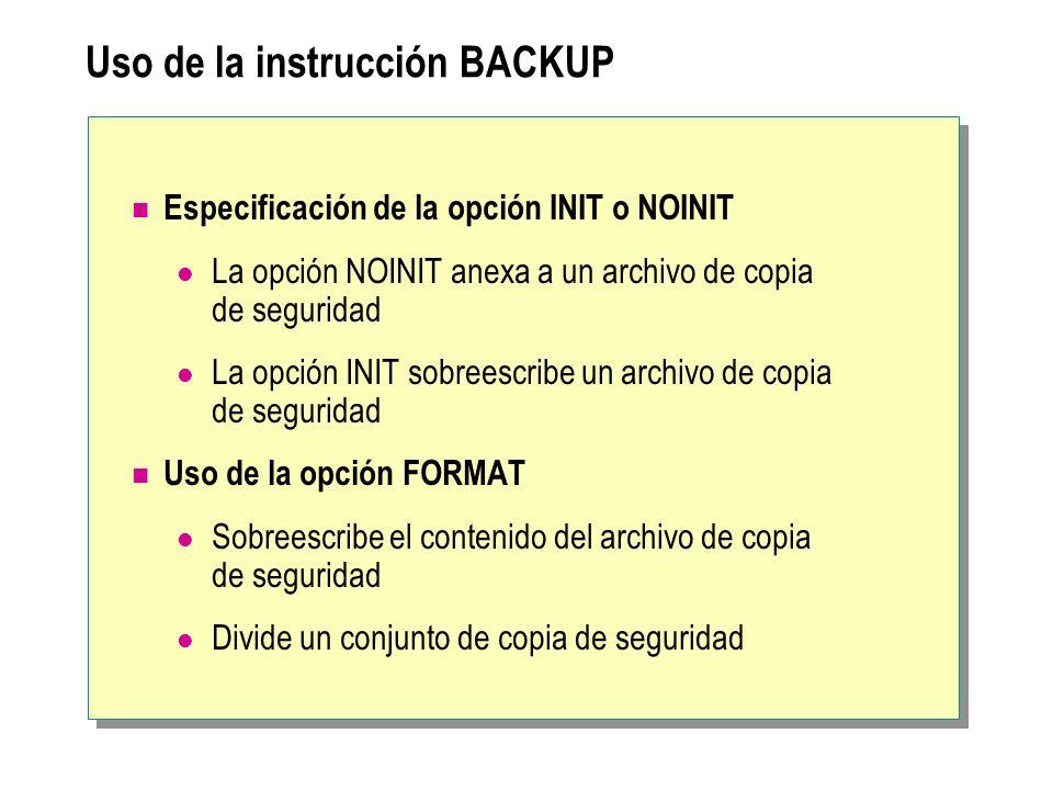 Uso de la instrucción BACKUP Especificación de la opción INIT o NOINIT La opción NOINIT anexa a un archivo de copia de seguridad La opción INIT sobree