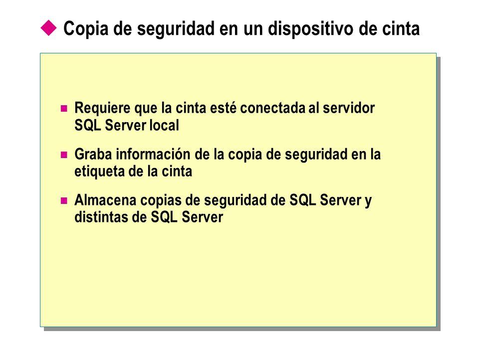 Copia de seguridad en un dispositivo de cinta Requiere que la cinta esté conectada al servidor SQL Server local Graba información de la copia de segur