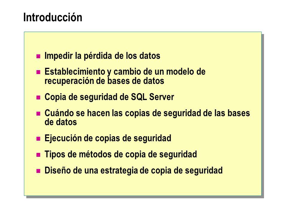 Introducción Impedir la pérdida de los datos Establecimiento y cambio de un modelo de recuperación de bases de datos Copia de seguridad de SQL Server