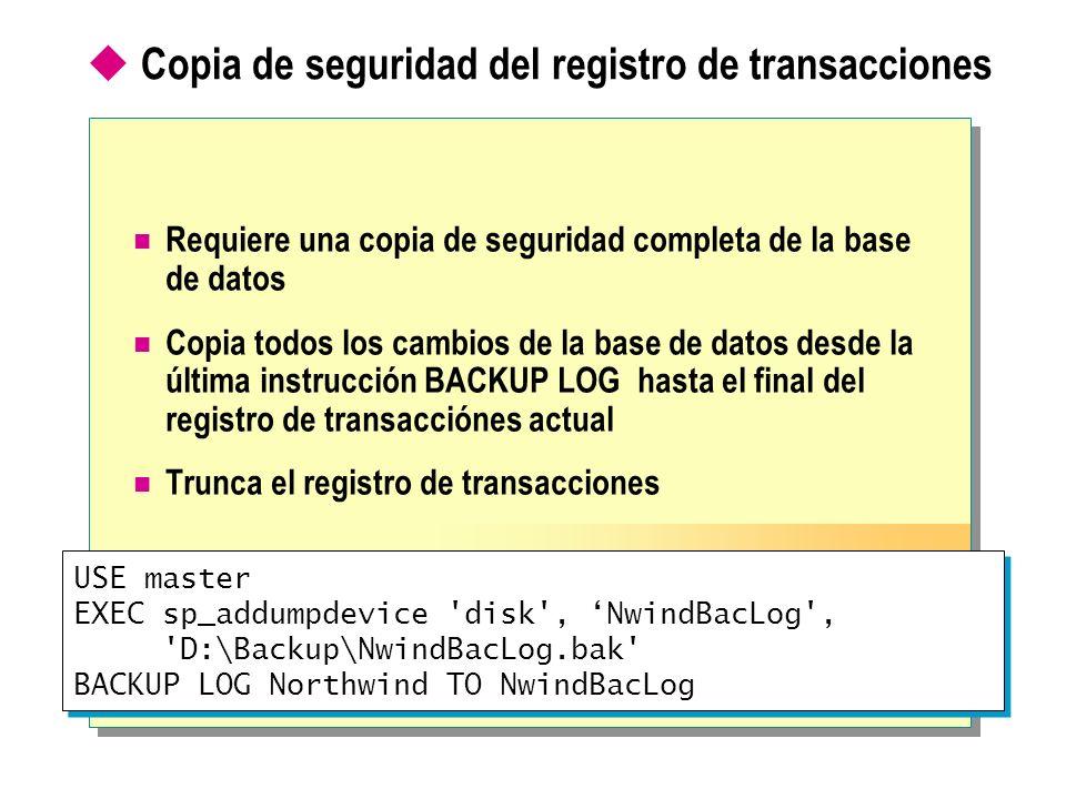 Copia de seguridad del registro de transacciones Requiere una copia de seguridad completa de la base de datos Copia todos los cambios de la base de da