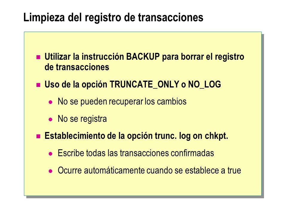 Limpieza del registro de transacciones Utilizar la instrucción BACKUP para borrar el registro de transacciones Uso de la opción TRUNCATE_ONLY o NO_LOG