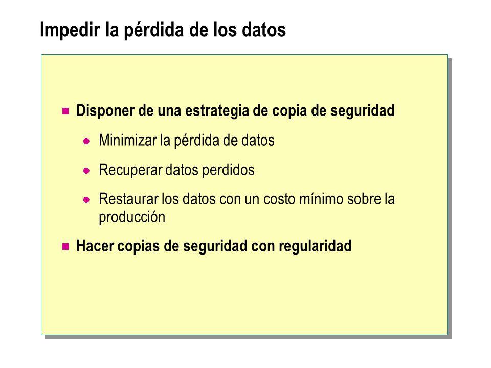 Impedir la pérdida de los datos Disponer de una estrategia de copia de seguridad Minimizar la pérdida de datos Recuperar datos perdidos Restaurar los