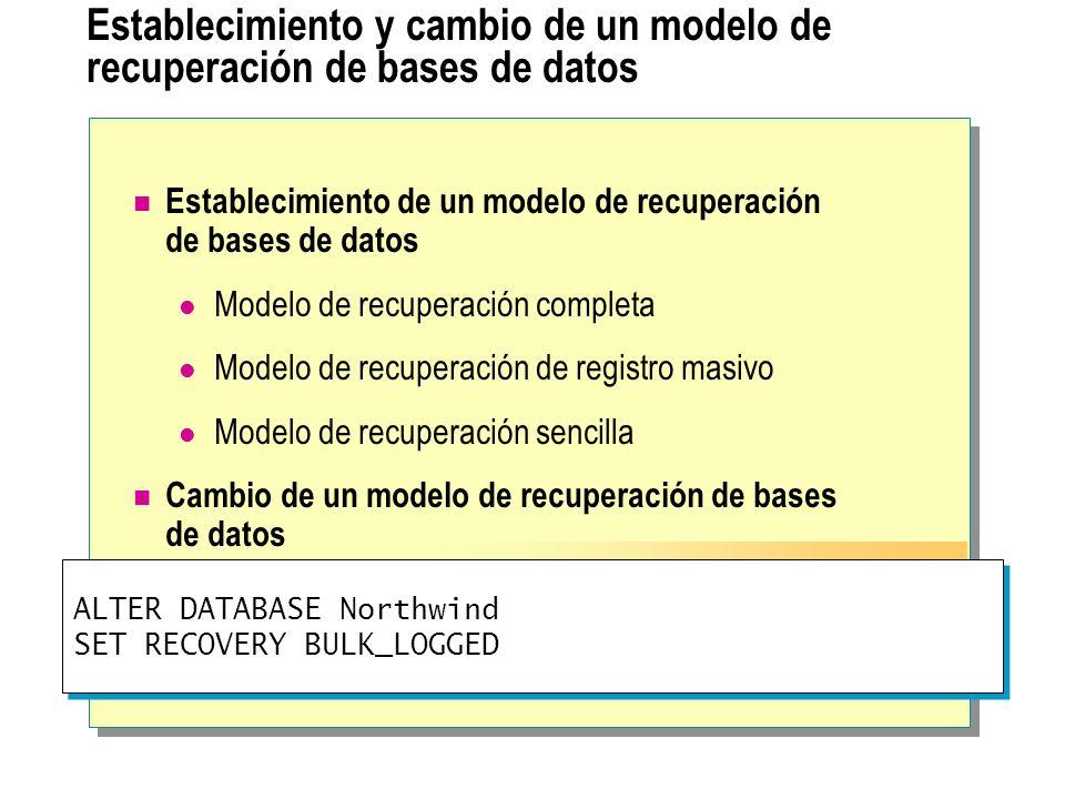 Copia de seguridad de SQL Server Permite hacer copias de seguridad de bases de datos mientras los usuarios siguen trabajando con ellas Hace la copia de seguridad de los archivos originales de la base de datos y registra sus ubicaciones Captura la actividad de la base de datos que tiene lugar durante el proceso de copia de seguridad Emite un punto de comprobación y registra el número de secuencia del registro (LSN) Escribe todas las páginas en el medio de copia de seguridad Escribe todas las entradas del registro de transacciones escritas durante el proceso de copia de seguridad