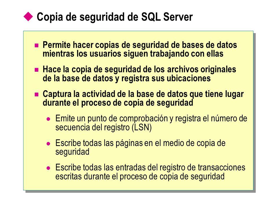 Copia de seguridad de SQL Server Permite hacer copias de seguridad de bases de datos mientras los usuarios siguen trabajando con ellas Hace la copia d