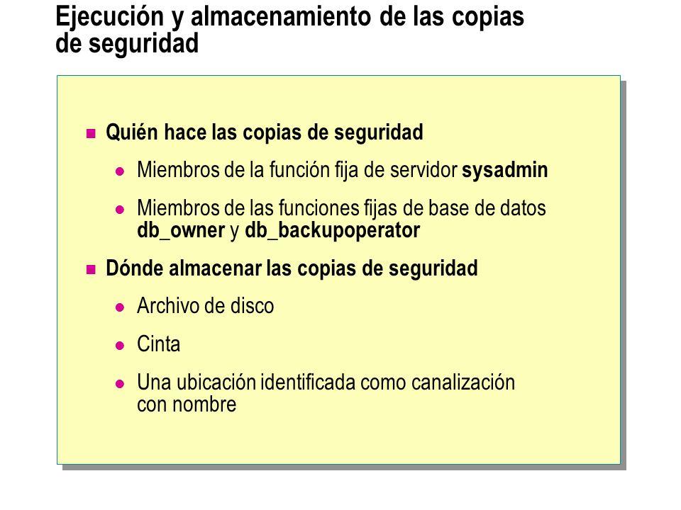 Ejecución y almacenamiento de las copias de seguridad Quién hace las copias de seguridad Miembros de la función fija de servidor sysadmin Miembros de
