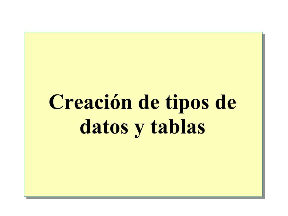 Creación de tipos de datos y tablas