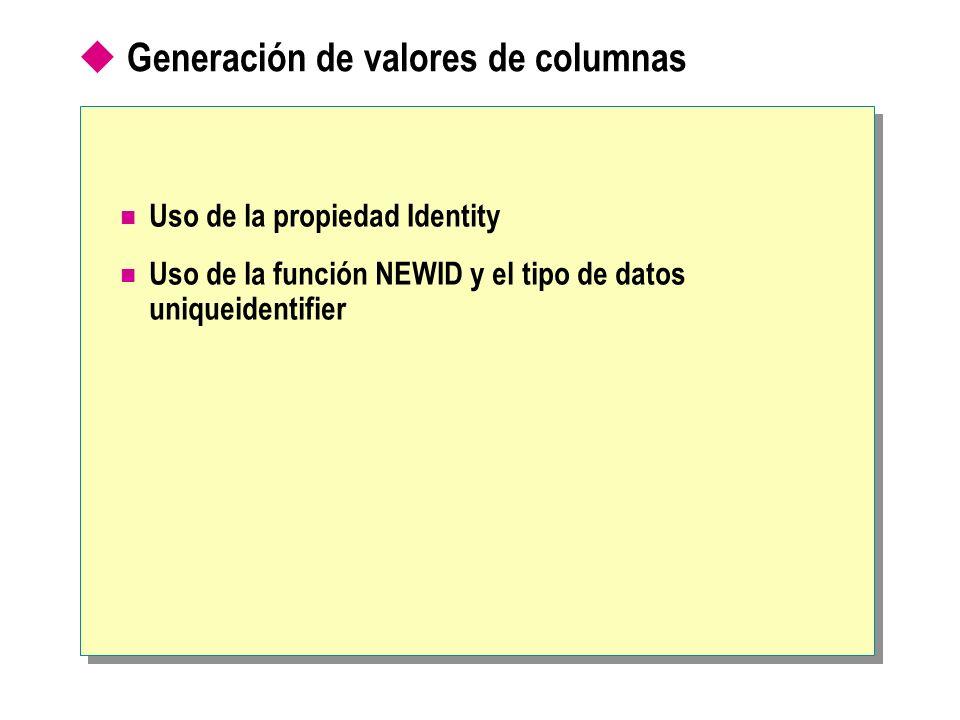 Generación de valores de columnas Uso de la propiedad Identity Uso de la función NEWID y el tipo de datos uniqueidentifier