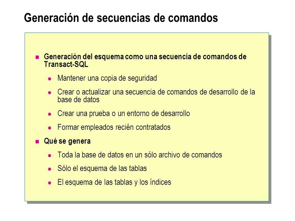 Generación de secuencias de comandos Generación del esquema como una secuencia de comandos de Transact-SQL Mantener una copia de seguridad Crear o act