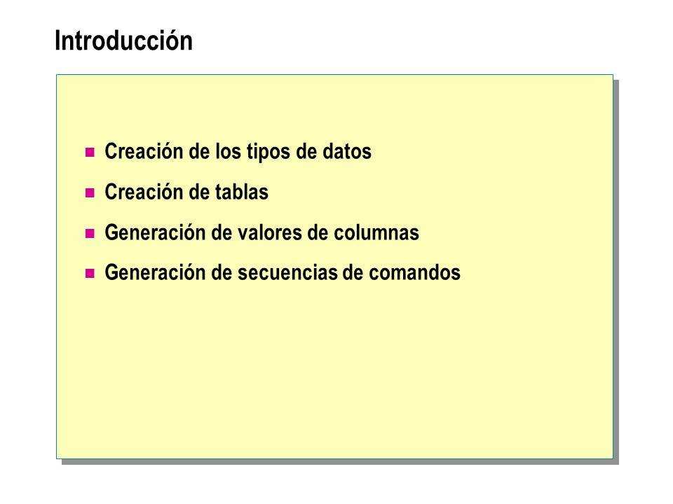 Introducción Creación de los tipos de datos Creación de tablas Generación de valores de columnas Generación de secuencias de comandos