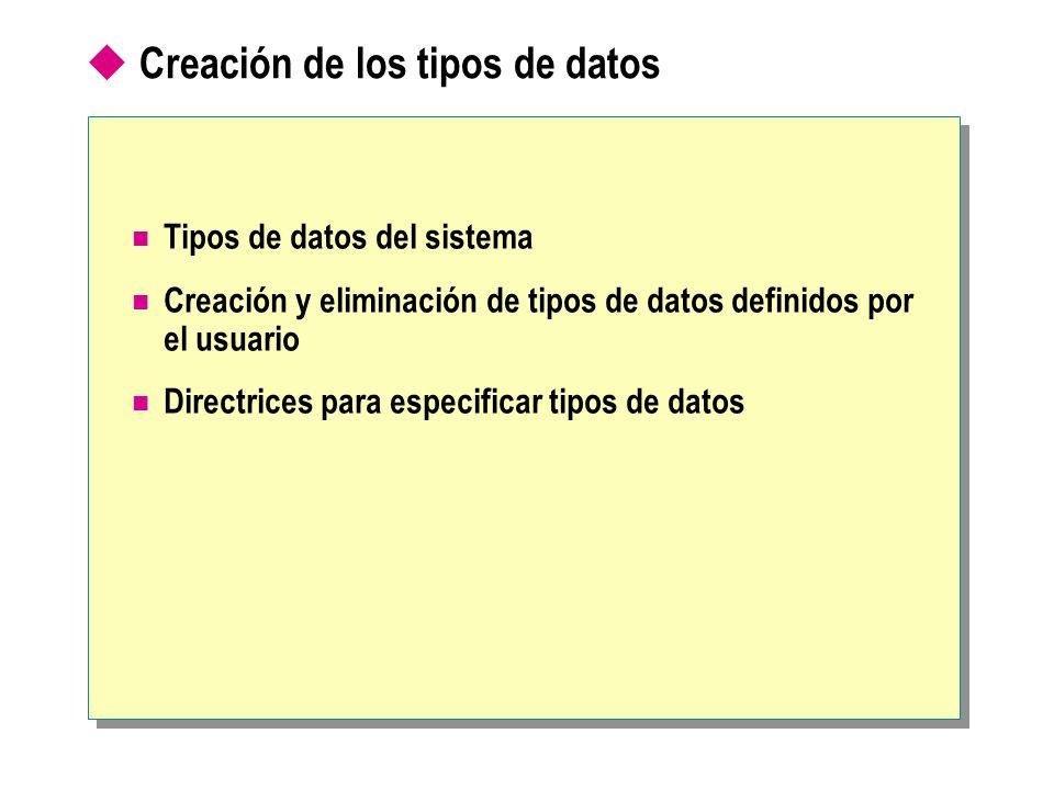 Creación de los tipos de datos Tipos de datos del sistema Creación y eliminación de tipos de datos definidos por el usuario Directrices para especific