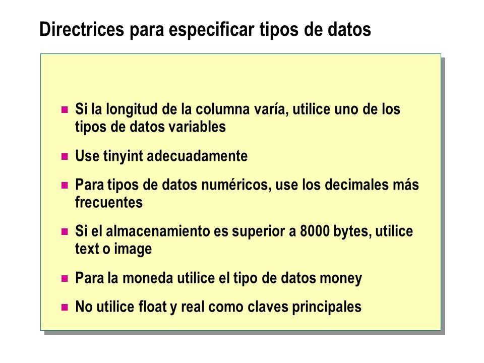 Directrices para especificar tipos de datos Si la longitud de la columna varía, utilice uno de los tipos de datos variables Use tinyint adecuadamente