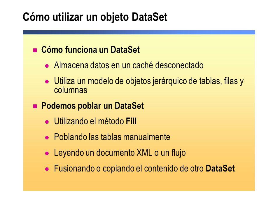 Cómo utilizar un objeto DataSet Cómo funciona un DataSet Almacena datos en un caché desconectado Utiliza un modelo de objetos jerárquico de tablas, fi