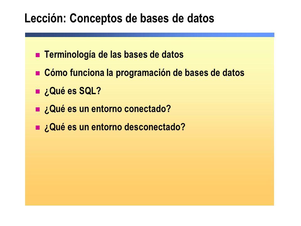 Lección: Conceptos de bases de datos Terminología de las bases de datos Cómo funciona la programación de bases de datos ¿Qué es SQL? ¿Qué es un entorn