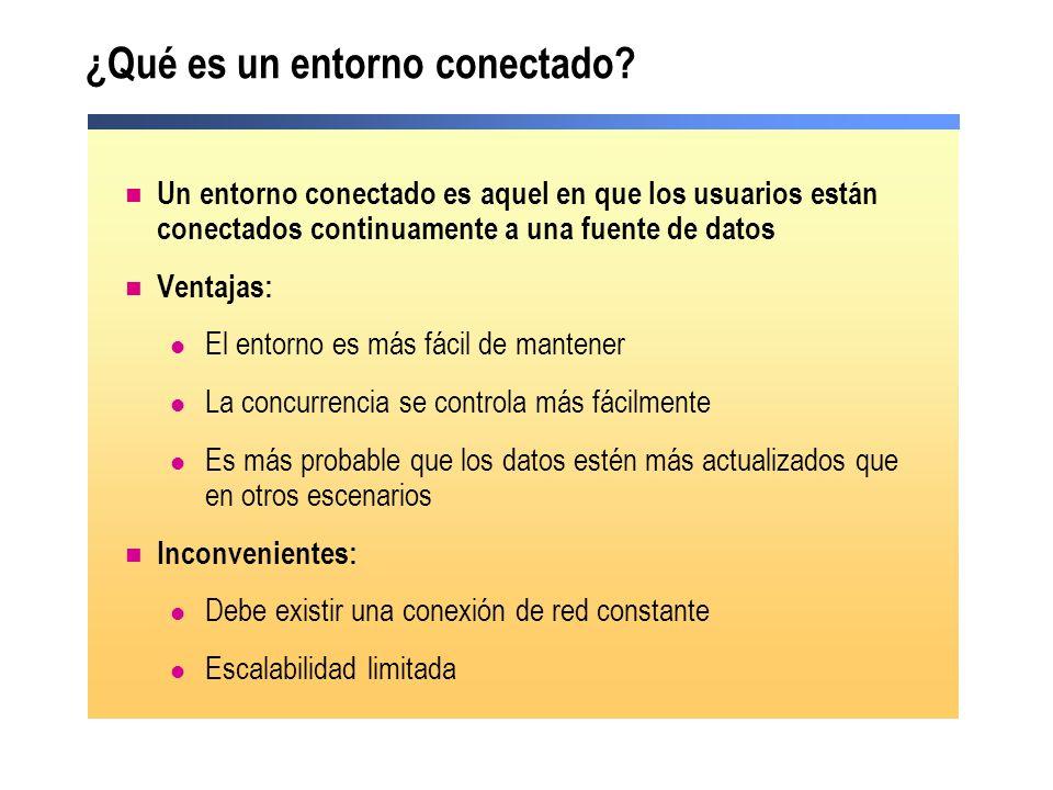 Cómo utilizar un objeto Connection Utilizamos Connection para: Elegir el tipo de conexión Especificar la fuente de datos Abrir la conexión a la fuente de datos Cerrar la conexión a la fuente de datos Ejemplo de conexión a una base de datos SQL Server Dim PubsSQLConn As SqlClient.SqlConnection PubsSQLConn = New SqlClient.SqlConnection( ) PubsSQLConn.ConnectionString = Integrated Security=True; & _ Data Source=local;Initial Catalog=Pubs; PubsSQLConn.Open( ) Dim PubsSQLConn As SqlClient.SqlConnection PubsSQLConn = New SqlClient.SqlConnection( ) PubsSQLConn.ConnectionString = Integrated Security=True; & _ Data Source=local;Initial Catalog=Pubs; PubsSQLConn.Open( )