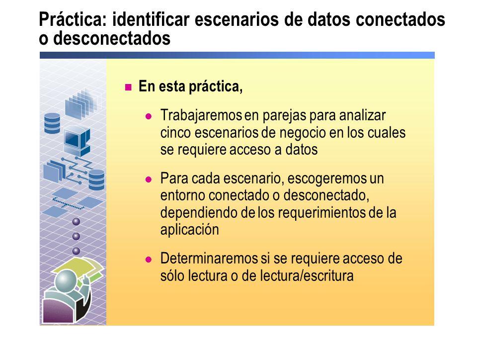 Práctica: identificar escenarios de datos conectados o desconectados En esta práctica, Trabajaremos en parejas para analizar cinco escenarios de negoc