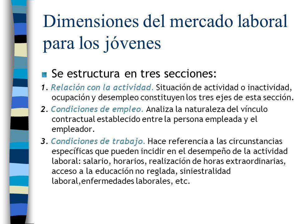 Dimensiones del mercado laboral para los jóvenes Se estructura en tres secciones: 1. Relación con la actividad. Situación de actividad o inactividad,