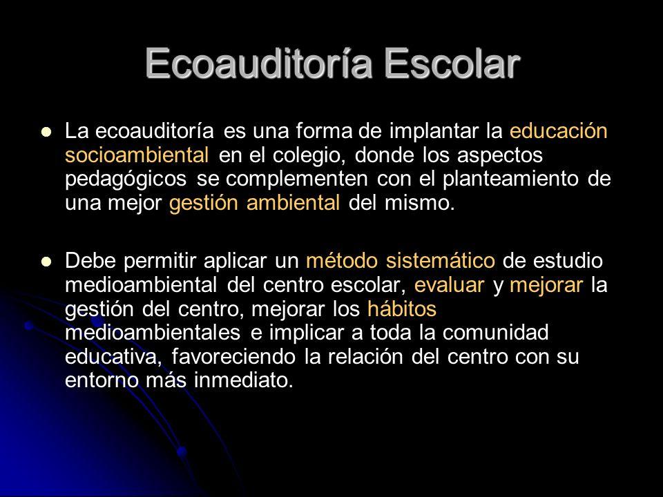 Ecoauditoría Escolar La ecoauditoría es una forma de implantar la educación socioambiental en el colegio, donde los aspectos pedagógicos se complement