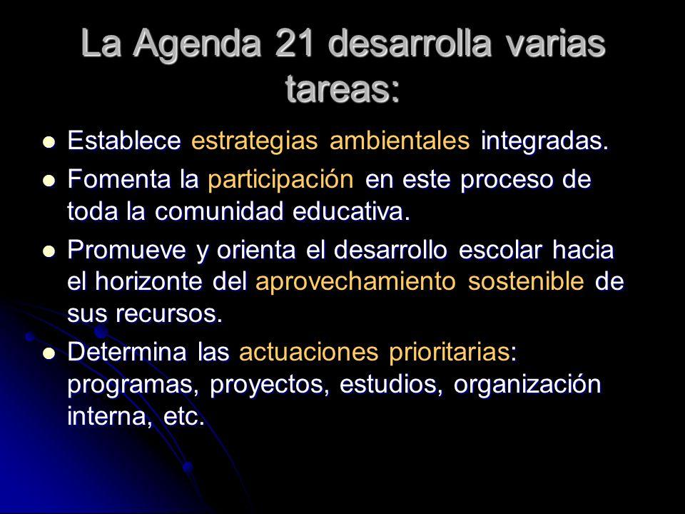 La Agenda 21 desarrolla varias tareas: Establece integradas. Establece estrategias ambientales integradas. Fomenta la en este proceso de toda la comun
