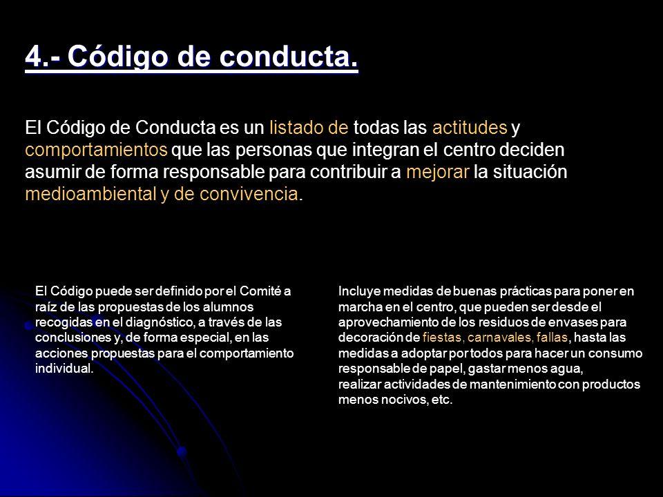4.- Código de conducta. El Código de Conducta es un listado de todas las actitudes y comportamientos que las personas que integran el centro deciden a