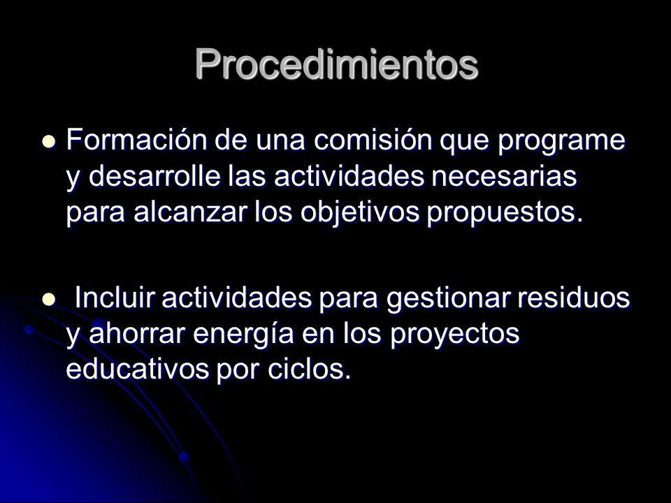 Procedimientos Formación de una comisión que programe y desarrolle las actividades necesarias para alcanzar los objetivos propuestos. Formación de una