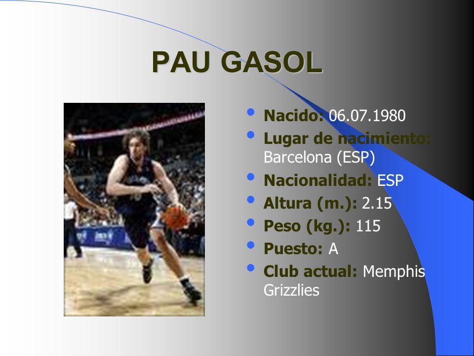 PAU GASOL Nacido: 06.07.1980 Lugar de nacimiento: Barcelona (ESP) Nacionalidad: ESP Altura (m.): 2.15 Peso (kg.): 115 Puesto: A Club actual: Memphis G