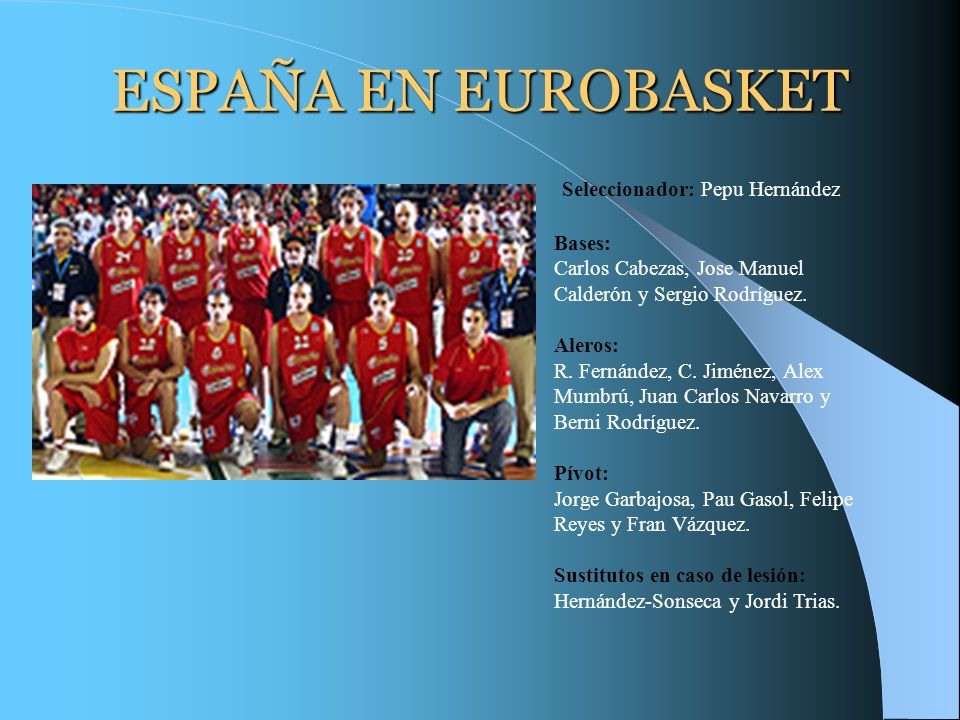 ESPAÑA EN EUROBASKET Seleccionador: Pepu Hernández Bases: Carlos Cabezas, Jose Manuel Calderón y Sergio Rodríguez. Aleros: R. Fernández, C. Jiménez, A