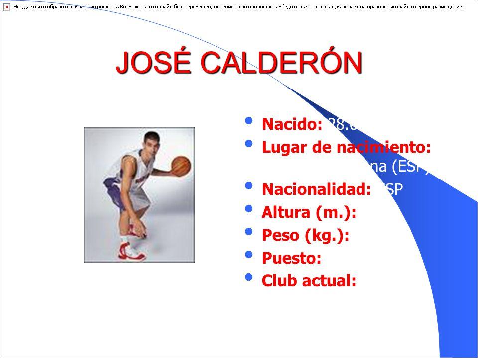 JOSÉ CALDERÓN Nacido: 28.09.1981 Lugar de nacimiento: Villanueva Serena (ESP) Nacionalidad: ESP Altura (m.): 1.90 Peso (kg.): 92 Puesto: E Club actual