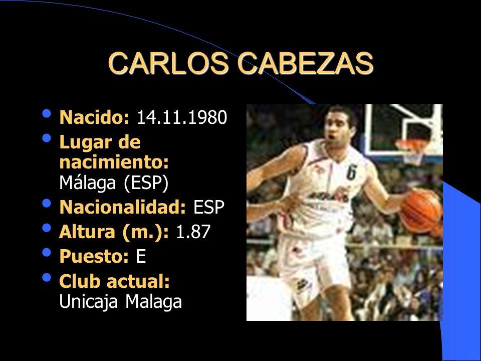 CARLOS CABEZAS Nacido: 14.11.1980 Lugar de nacimiento: Málaga (ESP) Nacionalidad: ESP Altura (m.): 1.87 Puesto: E Club actual: Unicaja Malaga